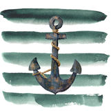 Watercolor retro anchor with rope on striped background. Vintage illustration isolated on white background. For design, prints or vector illustration