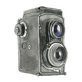 Watercolor Retro Camera. This is object illustration. it's retro camera and made from watercolor painting vector illustration