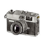 Watercolor Retro Camera. This is object illustration. it's retro camera and made from watercolor painting Royalty Free Stock Photography