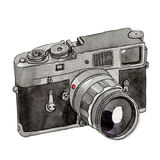 Watercolor Retro Camera. This is object illustration. it's retro camera and made from watercolor painting Stock Photos