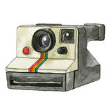Watercolor Retro Camera. This is object illustration. it's retro camera and made from watercolor painting Royalty Free Stock Photos