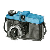 Watercolor Retro Camera. This is object illustration. it's retro camera and made from watercolor painting Stock Photo