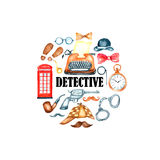 Watercolor retro detective accessories Royalty Free Stock Photography