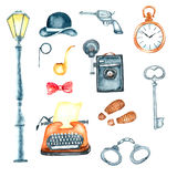 Watercolor retro detective accessories Stock Photography