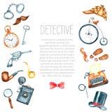 Watercolor retro detective accessories Stock Photo