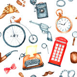 Watercolor retro detective accessories Stock Photo