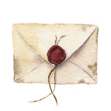 Watercolor retro envelope with sealing wax. Vintage mail icon isolated on white background. Hand painted design element Stock Photos