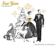 Free Watercolor Retro Illustration. Golden Luxury Style. Hand Painted Man And Women With Champagne, Dogs, Christmas Tree And Stock Image - 96355101