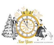 Watercolor retro illustration. Golden luxury style. Hand painted man and women with champagne, dog, tree, jewellery. Clock, diadem. New Year symbol. Ready for royalty free illustration
