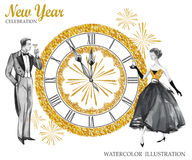 Watercolor retro illustration. Golden luxury style. Hand painted man and women with champagne, jewellery clock and Stock Image