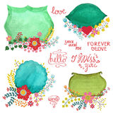 Watercolor retro labels with flowers.Holiday set Royalty Free Stock Image