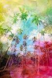 Watercolor retro palm grove Stock Image