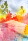 Watercolor retro palm trees on the road Royalty Free Stock Photos