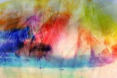 Watercolor retro palm Royalty Free Stock Photo