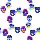 Watercolor retro pansy seamless pattern, round floral frame Royalty Free Stock Photos