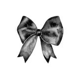 Watercolor retro satin black gift bow collection. Isolated on white Royalty Free Stock Images