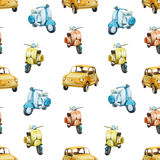 Watercolor retro scooter and car pattern. Beautiful vector pattern with nice watercolor retro scooters and cars Royalty Free Stock Photo