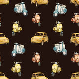 Watercolor retro scooter and car pattern Royalty Free Stock Photography