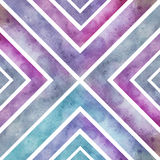 Watercolor retro seamless pattern with squares, abstract hand dr Stock Photos