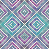 Watercolor retro seamless pattern with squares, abstract hand dr Stock Photography