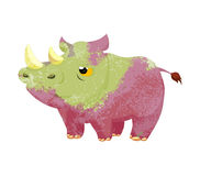 Watercolor rhino isolated on white background Stock Photos