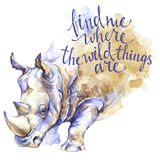 Watercolor rhinoceros with handwritten inspiration phrase. African animal. Wildlife art illustration. Can be printed on. T-shirts, bags, posters, invitations Stock Photos
