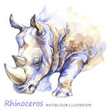 Watercolor rhinoceros on the white background. African animal. Wildlife art illustration. Can be printed on T-shirts Royalty Free Stock Photo