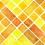 Watercolor rhombus geometric seamless pattern.Yellow, Brown Royalty Free Stock Photos