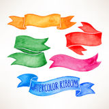 Watercolor ribbon banners. Set with beautiful colorful watercolor ribbon banners. hand-drawn illustration Royalty Free Stock Photography