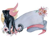 Watercolor ribbon with black panther, floral bouquets and moon Hand drawn banner Stock Photography