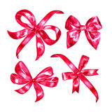 Watercolor ribbon and bow illustration, red pink design elements isolated on white background Stock Images