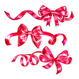 Watercolor ribbon and bow illustration, red pink design elements isolated on white background Stock Photo