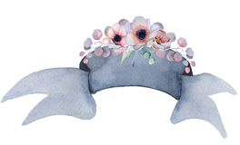 Watercolor ribbon with  floral bouquets Hand drawn banner Royalty Free Stock Photos