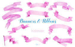Watercolor ribbons and banners. royalty free stock image