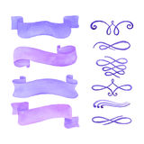 Watercolor ribbons and calligraphy elements set. On white background Royalty Free Stock Images