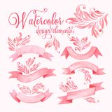 Watercolor ribbons set. Vector illustration. EPS 10 Royalty Free Stock Photo