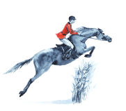Watercolor rider and horse, jumping a hurdle in forest on white. Horseman in red jacket at jumping steeplechase competition. England equestrian sport. Hand Royalty Free Stock Photo