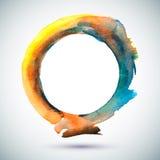 Watercolor-Ring-Blue-Yellow. Vector watercolor handmade ring. Vector mark. Colorful blot. Light, yellow and blue spot. Watercolor frame. Hand drawn circle Vector Illustration