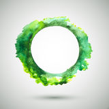 Watercolor-ring-green. Vector watercolor handmade background. Vector green mark. Colorful blot. Green round. Vector abstract shape. Vector artistic frame Royalty Free Illustration