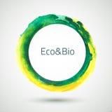 Watercolor-Ring-Green-Yellow. Vector watercolor handmade ring. Vector mark. Colorful blot. Light, yellow and green spot. Watercolor frame. Hand drawn. Organic Stock Illustration