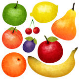 Watercolor Ripe Fruit Set. With banana orange lemon green and red apples cherry peach  vector illustration Stock Image