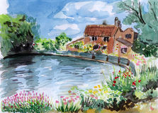 Watercolor river bank house Royalty Free Stock Photo
