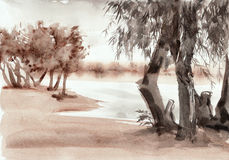 Watercolor riverscape Royalty Free Stock Photo