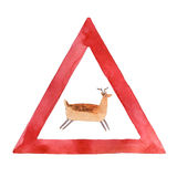 Watercolor road sign with deer isolated on white background Stock Photo