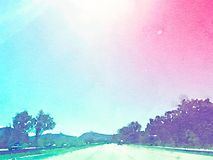 Watercolor Illustration highway road trip. With trees and mountains Stock Images