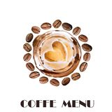 Watercolor roasted coffee beans, hot cup of coffee with heart coffee foam drawing. Hand drawn. Coffee shop menu cover. Watercolor roasted coffee beans, hot cup Royalty Free Stock Photos