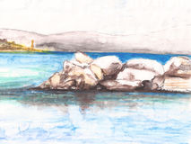 Watercolor rock wharf and sea Stock Photography