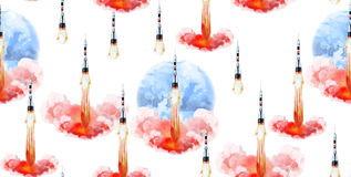Watercolor rocket pattern. Watercolor rocket seamless pattern. Vector outer space design vector illustration