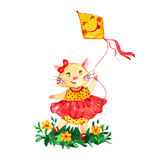 Watercolor romantic cat in red dress with funny kite . Royalty Free Stock Photography