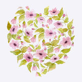 Watercolor romantic heart of pink flowers for Valentines day Royalty Free Stock Photo